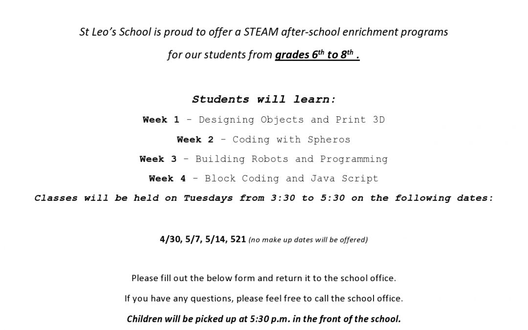 STEAM Enrichment Program Grades 6-8