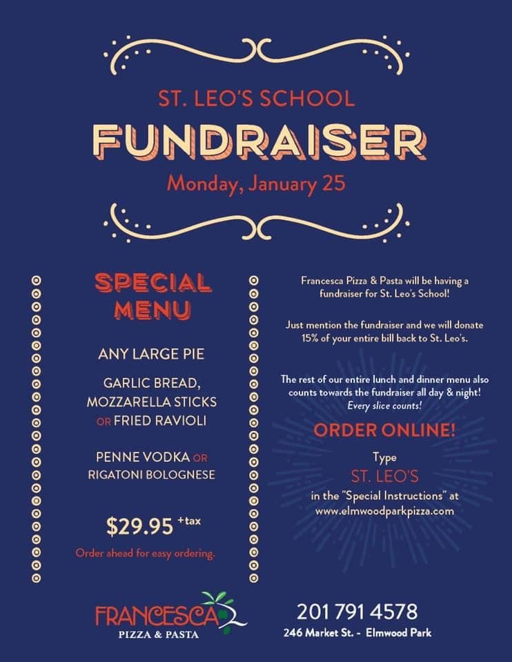 Monday, January 25 – Francesca Pizza & Pasta Fundraiser